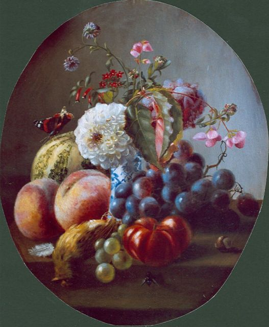 Margaretha Roosenboom | A still life with peaches, flowers and grapes, Öl auf Tafel, 40,0 x 33,6 cm, signed l.c. und dated 1859