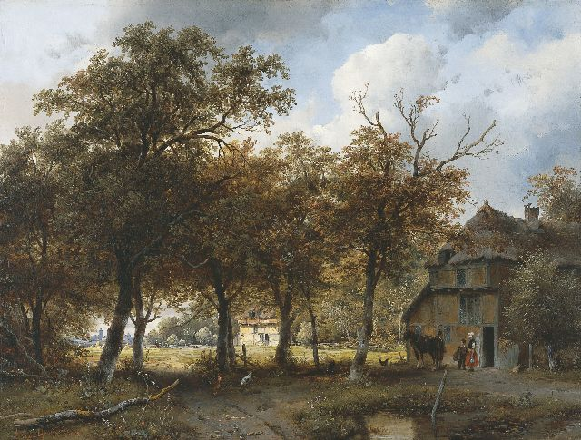 Andreas Schelfhout | A wooded landscape with farms and a city in the distance, Öl auf Tafel, 40,3 x 52,9 cm, signed l.l. und painted 1843