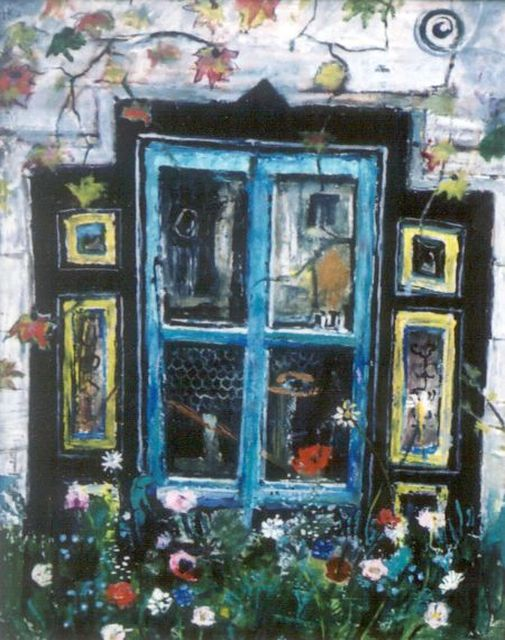 Harm Kamerlingh Onnes | A window surrounded by flowers, Öl auf Leinwand, 58,0 x 45,0 cm, signed l.l. und dated '70