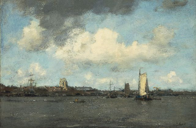 Jacob Maris | Shipping on the river Merwede, Dordrecht, Öl auf Leinwand, 58,7 x 89,0 cm, signed l.r.
