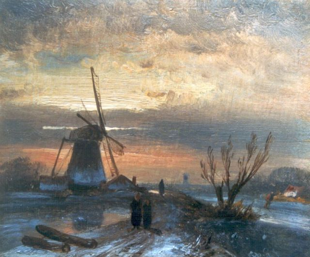 Charles Leickert | A frozen river with a windmill, Öl auf Tafel, 9,2 x 11,0 cm, signed l.r. with initials