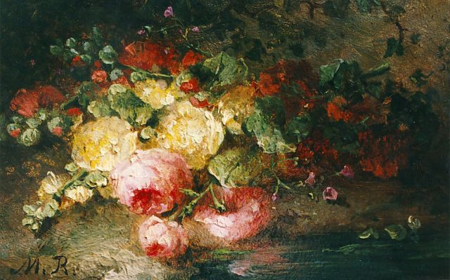 Margaretha Roosenboom | A bouquet on a forest-path, Öl auf Tafel, 7,9 x 12,0 cm, signed l.l.