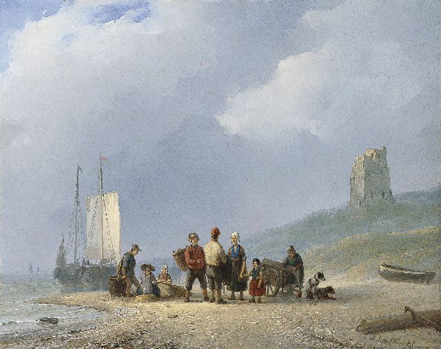 Andreas Schelfhout | Sorting the catch, Öl auf Malerpappe, 22,8 x 28,0 cm, signed l.r. und painted between 1825-1831