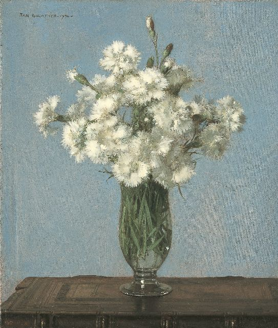Jan Bogaerts | White carnations in a glass vase, Öl auf Leinwand, 35,2 x 30,2 cm, signed u.l. und dated 1936