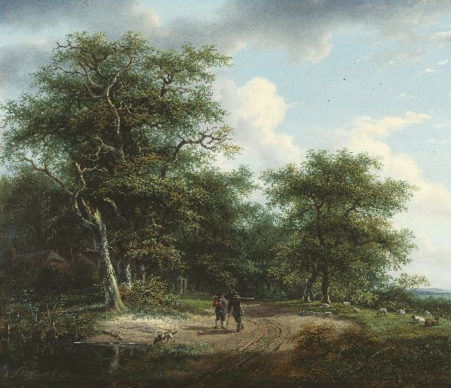 Andreas Schelfhout | Figures in a summer landscape, Öl auf Tafel, 33,9 x 40,0 cm, signed l.l. und painted between 1812-1815