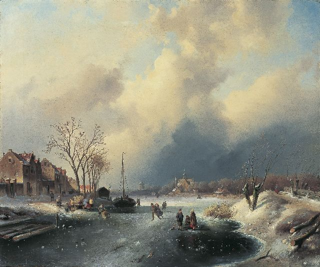 Charles Leickert | Figures conversing on the ice, Öl auf Leinwand, 59,7 x 71,4 cm, signed l.l.