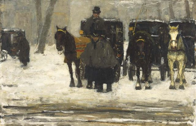 Floris Arntzenius | Coaches in the snow, Öl auf Tafel, 38,7 x 59,4 cm, signed l.r. und zu datieren ca. 1895