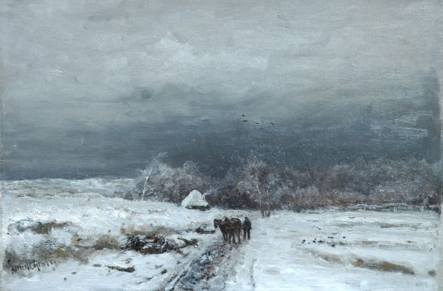Louis Apol | A traveller in a snow-covered landscape, Öl auf Leinwand, 33,9 x 49,8 cm, signed l.l.