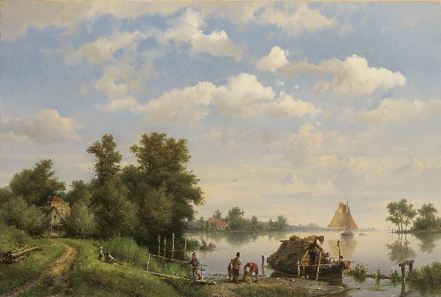 Hermanus Koekkoek | A calm river with ships and a moored houseboat, Öl auf Leinwand, 38,4 x 56,8 cm, signed l.l. und dated 1863