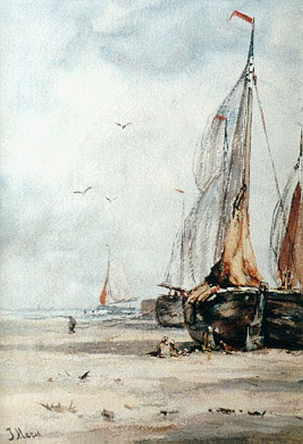 Maris J.H.  | Barges on the beach, Aquarell auf Papier 36,0 x 25,0 cm, signed l.l. and on the reverse