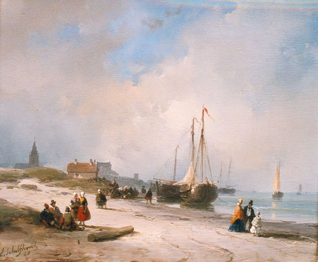 Andreas Schelfhout | Fisherfolk and elegant strollers on the beach, Scheveningen, Öl auf Tafel, 19,0 x 22,4 cm, signed l.l. und dated '48