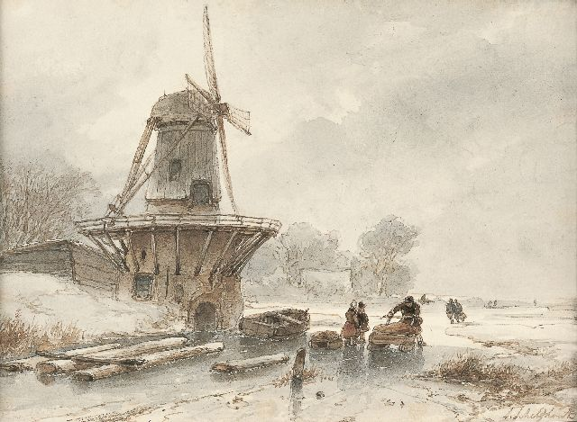 Andreas Schelfhout | A winter landscape with skaters on the ice, Aquarell auf Papier, 15,0 x 20,0 cm, signed l.r.