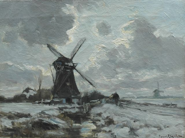 Louis Apol | A windmill in a snow-covered landscape, Öl auf Leinwand, 30,5 x 40,6 cm, signed l.r.