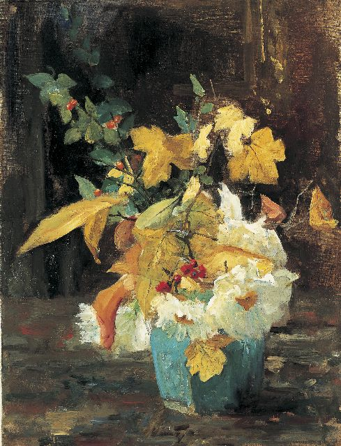 Floris Arntzenius | A ginger jar with an autumn bouquet, Öl auf Leinwand, 50,4 x 38,9 cm