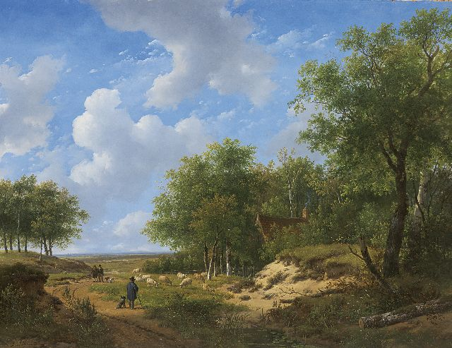 Andreas Schelfhout | Heathland with a shepherd and his flock, Öl auf Tafel, 53,1 x 68,9 cm, signed l.l.