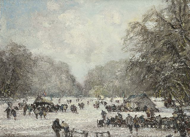 Louis Apol | Skaters on the pond in the Haagse Bos, Öl auf Leinwand, 55,3 x 75,2 cm, signed l.l.