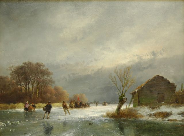 Andreas Schelfhout | A frozen river with skaters and a 'koek-en-zopie', Öl auf Tafel, 21,8 x 29,0 cm, signed l.r. und dated '57