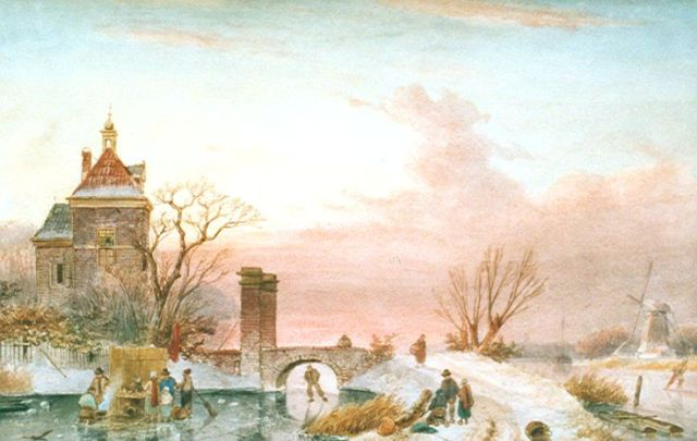 Charles Leickert | Skaters on a frozen river by a tower, Aquarell auf Papier, 30,8 x 48,8 cm, signed l.r.
