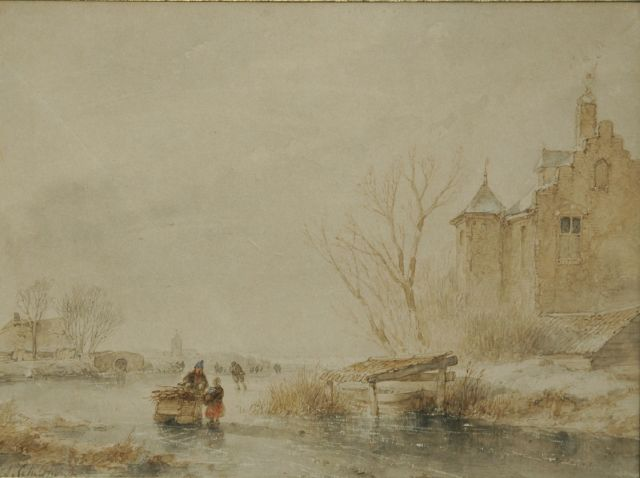 Andreas Schelfhout | Skaters on the ice by a fortified building, Sepia und Aquarell auf Papier, 20,0 x 27,0 cm, signed l.l.