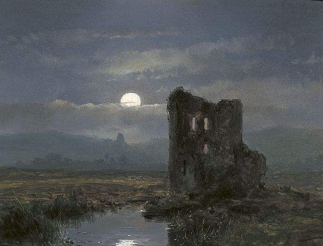 Andreas Schelfhout | A ruin in a moonlit landscape, Öl auf Tafel, 17,3 x 22,0 cm, dated 1854 on the reverse