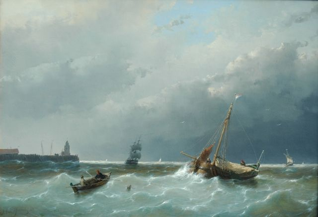 Andreas Schelfhout | Shipping in stormy waters, Öl auf Tafel, 30,6 x 44,1 cm, signed l.l. und dated '60