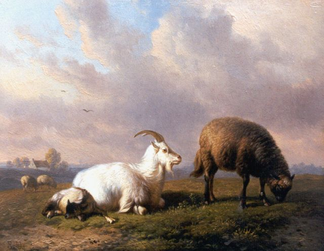 Robbe L.M.D.R.  | A goat, a sheep and a lamb in a landscape, Öl auf Tafel 16,1 x 20,5 cm, signed l.l.