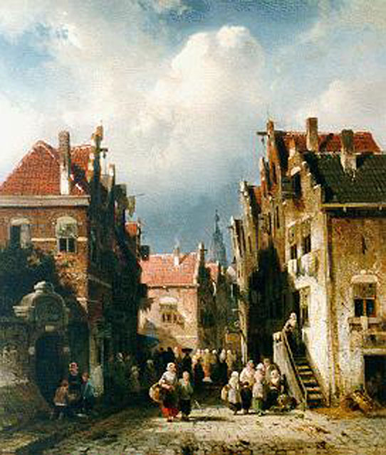 Charles Leickert | Daily activities in a Dutch town, Öl auf Tafel, 31,6 x 27,5 cm, signed l.l. und painted circa 1855