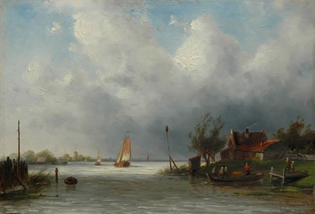 Charles Leickert | A river with ferry, Öl auf Tafel, 18,6 x 27,0 cm, signed l.r.