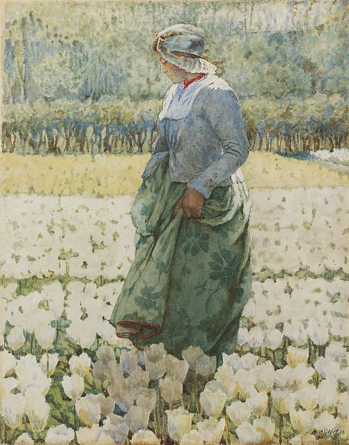 King A.G.  | Picking tulips, Aquarell auf Papier 47,4 x 37,3 cm, signed l.r. und dated '13