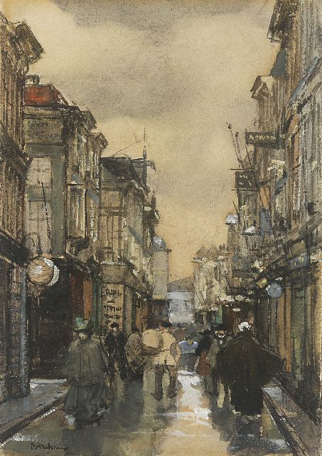 Floris Arntzenius | A view of the Spuistraat, The Hague, Aquarell und Gouache auf Papier, 16,9 x 11,5 cm, signed l.l.