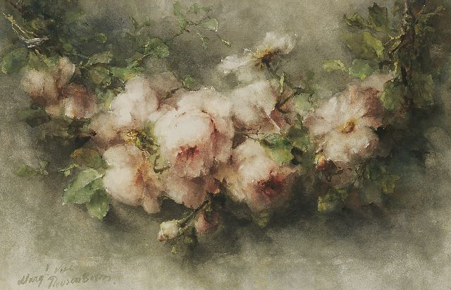 Margaretha Roosenboom | A garland of pink roses, Aquarell auf Papier, 48,3 x 75,3 cm, signed l.l.