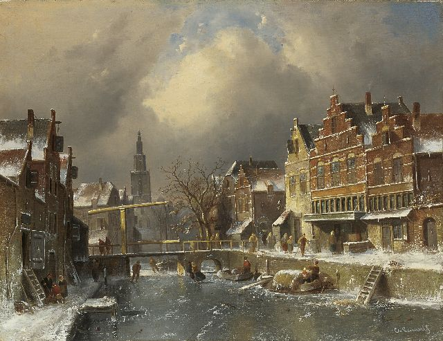 Charles Leickert | The Verdronkenoord, Alkmaar, in winter, Öl auf Leinwand, 63,7 x 82,2 cm, signed l.r. and m.r.