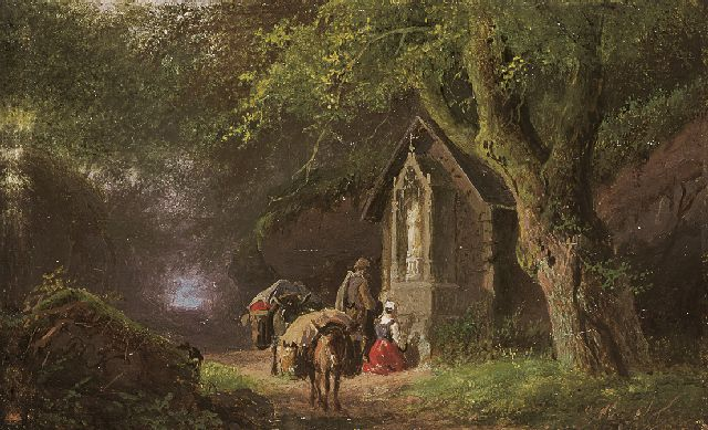 Barend Cornelis Koekkoek | Travellers at a Lady Chapel in the woods, Öl auf Kupfer, 5,7 x 9,0 cm, signed l.l. with initials und painted between 1845-1849