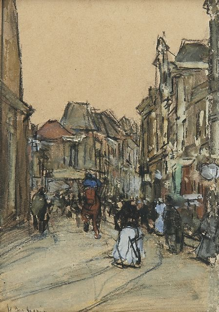 Floris Arntzenius | A street in The Hague, Schwarze Kreide und Aquarell auf Papier, 12,5 x 8,9 cm, signed l.l.