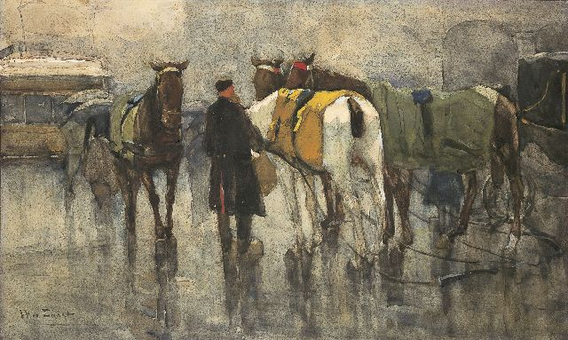 Willem de Zwart | Harnessing the horses, Aquarell auf Papier, 30,0 x 60,0 cm, signed l.l.