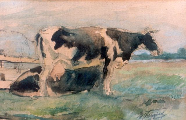 Herman Kruyder | Cows in a meadow, Aquarell auf Papier, 14,0 x 21,0 cm, signed l.r.