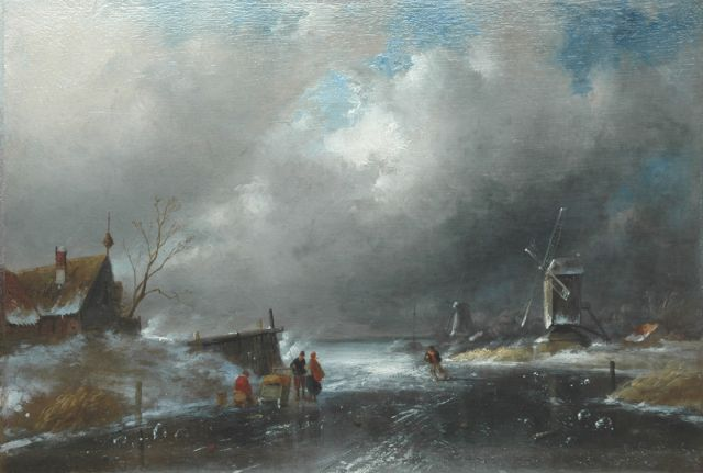 Charles Leickert | Approaching storm, Öl auf Tafel, 28,1 x 41,3 cm, signed l.r.