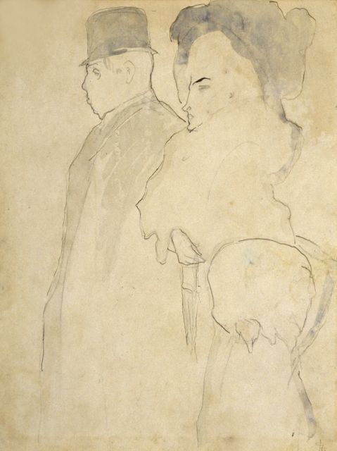 Leo Gestel | Strolling couple, Feder und  Aquarell auf Papier, 26,5 x 20,0 cm, signed l.r. with monogram