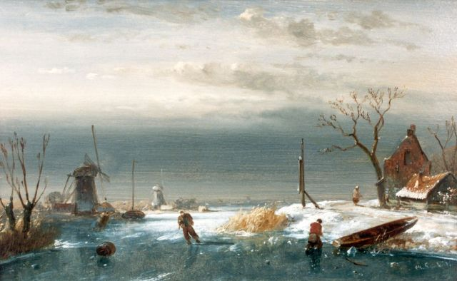 Charles Leickert | A winter landscape with skaters on a frozen waterway, Öl auf Tafel, 13,9 x 22,0 cm, signed l.r.