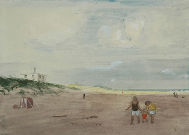 Harm Kamerlingh Onnes | At the beach, Aquarell auf Papier, 20,0 x 27,5 cm, signed l.l. with monogram und dated '60