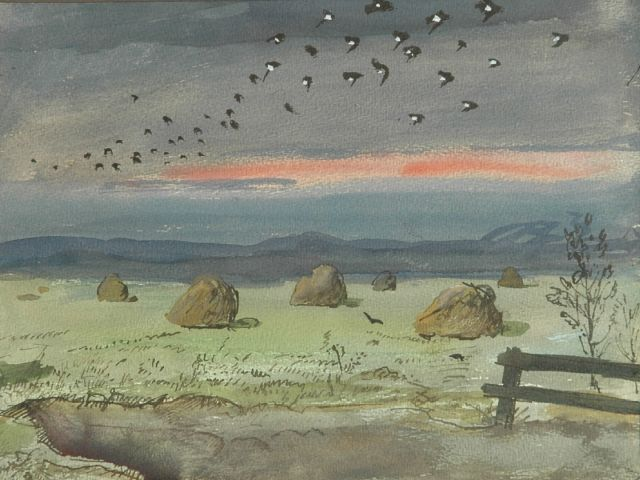 Harm Kamerlingh Onnes | A flock of birds over hayhocks, Aquarell auf Papier, 24,0 x 31,5 cm, signed l.r. with monogram und dated '57