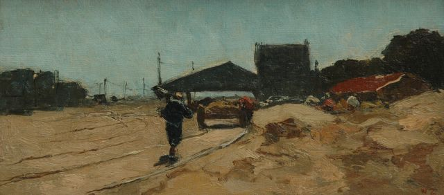Willem de Zwart | Labourers along a track, The Hague, Öl auf Leinwand auf Tafel, 16,3 x 33,9 cm, signed l.r. with initials