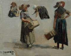 Blommers B.J. - Studie von Fischverkäuferinnen aus Katwijk, Öl auf Leinen 29,6 x 37,5 cm, signiert u.l.