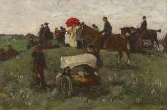 Akkeringa J.E.H. - Beim Wettrennen zu Clingendael, Öl auf Holzfaserplatte 16,5 x 25 cm, signiert r.u.und zu datieren um 1898