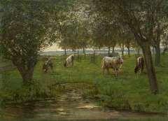 """Mondriaan P.C. - """"Weidende Kälbchen """", Öl auf Leinen 50,2 x 69,3 cm, signiert l.u.und zu datieren 1902-1903"""