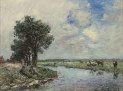 Jongkind J.B. - Am Fluss, Öl auf Leinen 24,6 x 32,5 cm, signiert r.u.und datiert 1868