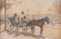 Sluiter J.W. - Ein Tourist in Paris, Holzkohle und aquarell auf gefärbtem Papier 32,4 x 50,2 cm, signiert r.u.und datiert 'Paris - Oct. 1921'