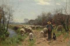 Weele H.J. van der - Schäfer mit Herde, Öl auf Leinen 58,1 x 86,5 cm, signiert u.l.