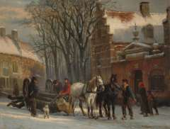 Springer C. - Zugpferde mit einem Langholzwagen in der Zuiderkerkstraat, Elburg, Öl auf Tafel 19,6 x 25,2 cm, signiert u.r.und datiert '79