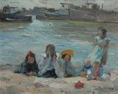 Voorden A. - Kinder spielen, Öl auf Leinen 27,2 x 34,2 cm, signiert u.l.